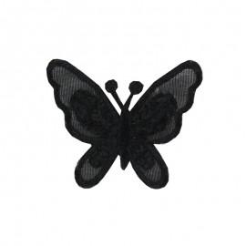 Thermocollant brodé Ornement papillon broderie - noir