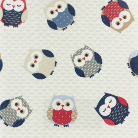 Coated Cotton Fryett's Owls  - blue x 10cm