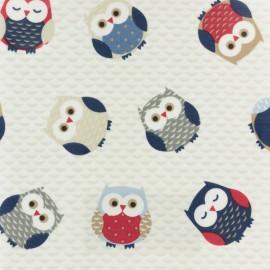 Tissu enduit de coton Fryett's Owls - bleu x 10cm
