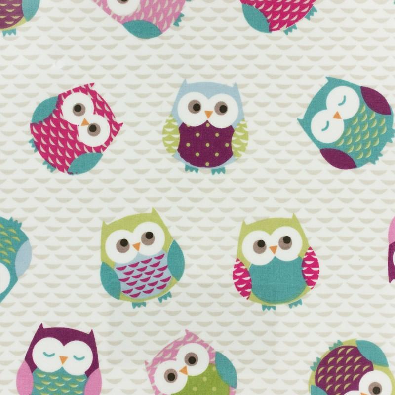 tissu enduit de coton fryett 39 s owls multicolore. Black Bedroom Furniture Sets. Home Design Ideas
