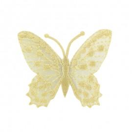 Thermocollant brodé Ornement papillon broderie - écru a