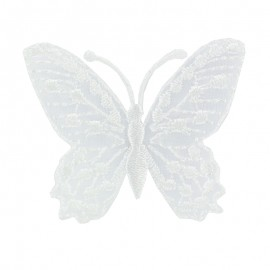 Ornement Papillon Enbroidered small embroidered iron on patch  - white a