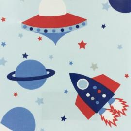 Tissu enduit de coton Fryett's Rockets - bleu x 32cm