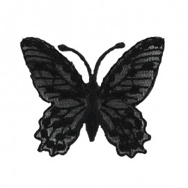 Ornement Papillon Enbroidered small embroidered iron on patch  - black b