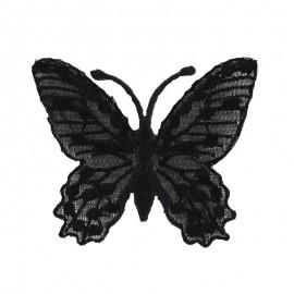 Thermocollant brodé Ornement papillon broderie - noir a
