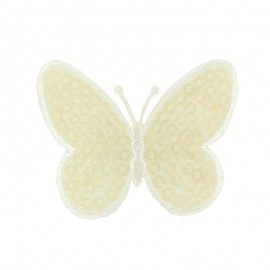 Ornement Papillon Sequin small embroidered iron on patch  - ecru