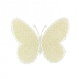 Thermocollant brodé Ornement papillon sequins - écru