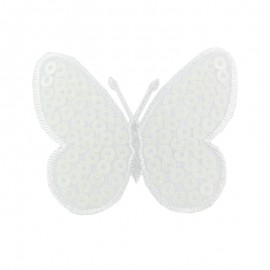 Ornement Papillon Sequin small embroidered iron on patch  - white