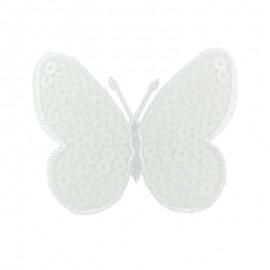 Thermocollant brodé Ornement papillon sequins - blanc