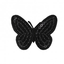 Ornement Papillon Sequin small embroidered iron on patch  - black