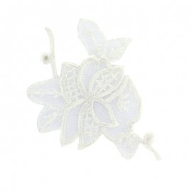 Thermocollant brodé Noël floral petit - blanc