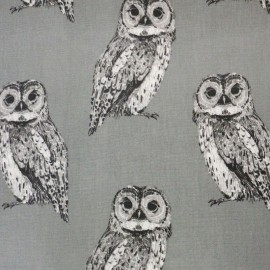 Coated Cotton Nature Owl - grey x 21cm