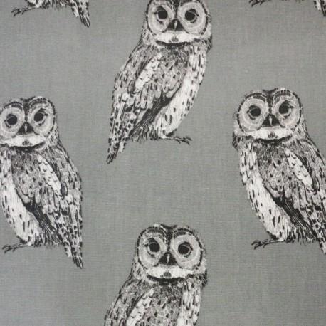 Tissu enduit de coton Nature Owl - gris x 21cm