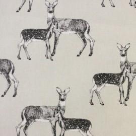 Tissu enduit de coton Nature Deer - beige x 21cm