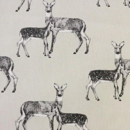 Coated Cotton Nature Deer - beige x 21cm