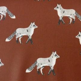 Tissu enduit de coton Nature Fox - marron x 10cm