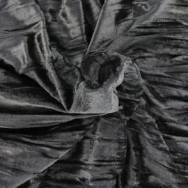 Tissu Oeko-tex velours stretch Froissé - noir  x10cm