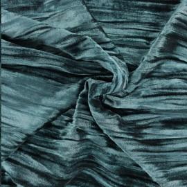 Tissu velours stretch Froissé - émeraude x10cm