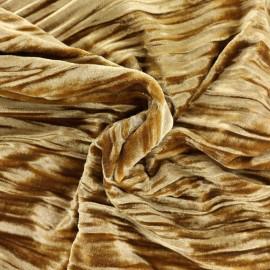 Tissu velours stretch Froissé - moutarde x10cm