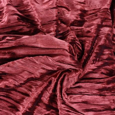 Froissé Stretch Velvet fabric - carmine x 10cm
