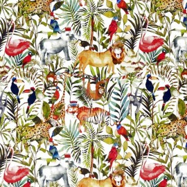 Cotton fabric My World King of the jungle - white/multicolor x 63cm