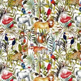 Tissu toile de coton My World King of the jungle - blanc/multicolore x 63cm