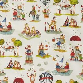 Tissu toile de coton My World Little bears - blanc/multicolore x 46cm