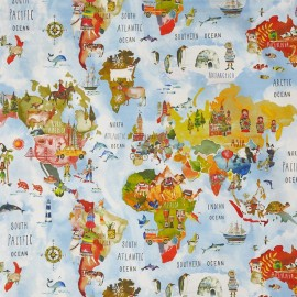 Cotton fabric My World Adventure  - white/multicolor x 98cm