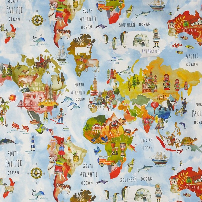 Cotton fabric my world adventure white multicolor for Fabric world