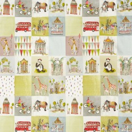 Tissu toile de coton My World Marshmallow - multicolore x 80cm