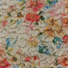 Tissu fourrure Flower - beige x 10cm
