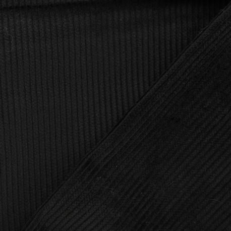 Ribbed velvet fabric - black x 10cm