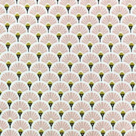 Cretonne cotton Fabric Eventails dorés - pink x 10cm