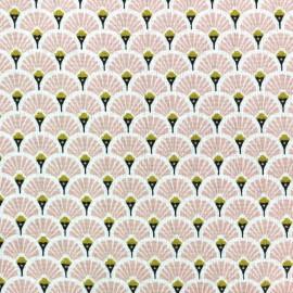 Tissu coton crétonne Eventails dorés - rose x 10cm