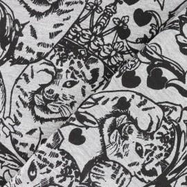 Tissu sweat léger Félin câlin - gris x 10cm