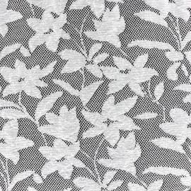 ♥ Coupon 10 cm X 150 cm ♥ Tissu Jersey jacquard Baroque floral - gris et noir
