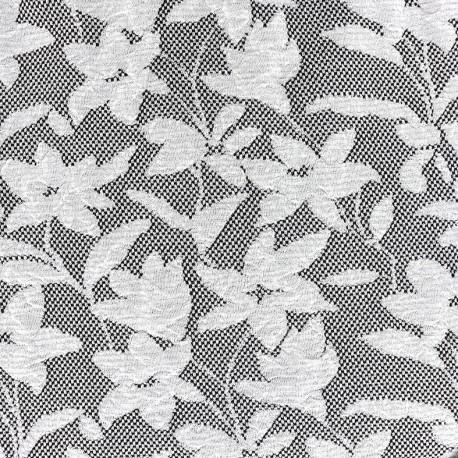Tissu Jersey jacquard Baroque floral - gris et noir x 10cm