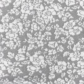 ♥ Coupon 40 cm X 150 cm ♥ Tissu Jersey jacquard Baroque floral - gris et noir A