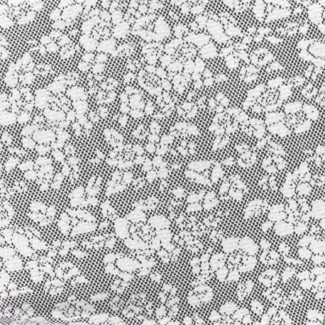 Baroque Floral Jersey jacquard fabric - grey and black  A x 10cm