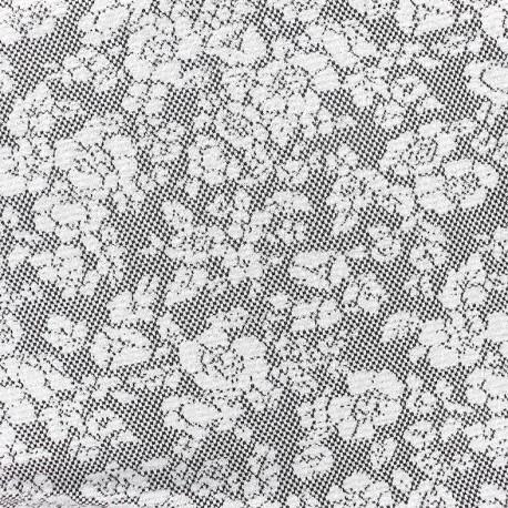 Tissu Jersey jacquard Baroque floral - gris et noir A x 10cm