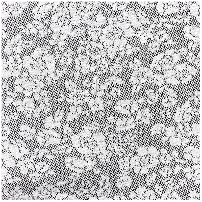 tissu jersey jacquard baroque floral gris et noir a x 10cm. Black Bedroom Furniture Sets. Home Design Ideas