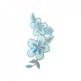 Old School Flower pastel iron on patch  - blue