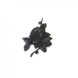 Thermocollant brodé Noël floral petit - noir