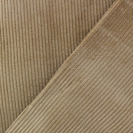 Ribbed velvet fabric - dark blond x 10cm