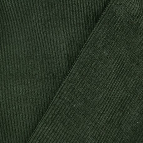 Ribbed velvet fabric - spinach green x 10cm