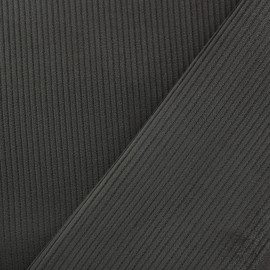 Ribbed velvet fabric - anthracite x 10cm