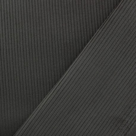 Ribbed velvet fabric - anthracite x 10cm