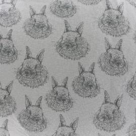Tissu Oeko-Tex Jersey Bio Lapinou - gris x 10cm
