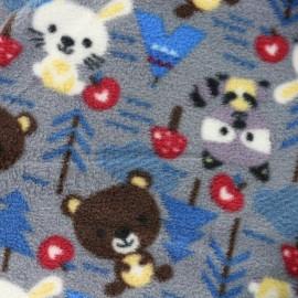 Tissu Doudou Petite forêt - gris x 31cm