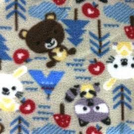 Tissu Doudou Petite forêt - sable x 31cm